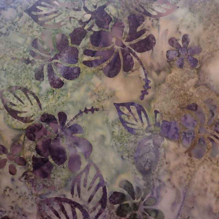 Hibiscus Purple Batik Wideback Fabric $ 36 metre